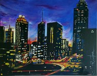 City Night by Reena Tomar, Illustration Painting, Acrylic on Canvas, Outer Space color