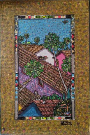 My Surrounding 7 by SANTHOSH D ANDRADE, Impressionism Painting, Acrylic on Canvas, Tobacco Brown color