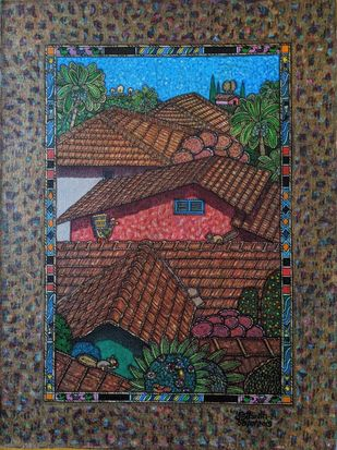 My Surrounding 22 by SANTHOSH D ANDRADE, Folk, Impressionism Painting, Acrylic on Canvas, Kabul color
