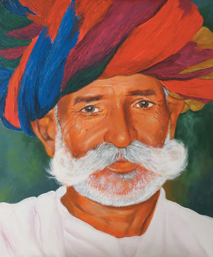 Rajastani Old Man with Turban by Muralidhar Suvarna, Illustration Painting, Canvas on Board, Crail color
