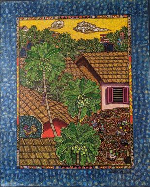 My Surrounding 32 by SANTHOSH D ANDRADE, Decorative, Folk Painting, Acrylic on Canvas, Cape Cod color