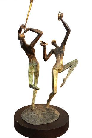 Instinctive Beats by Shashi Paul, Art Deco Sculpture | 3D, Bronze, English Walnut color