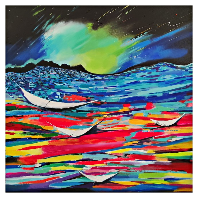 Beyond the sea by Richa Pamnani, Abstract Painting, Acrylic on Canvas, Pickled Bluewood color