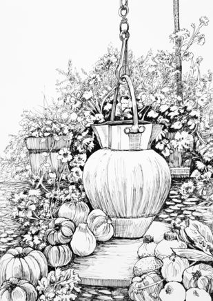 Still life with an Urn by Shalini Sinha, Illustration Painting, Pen & Ink on Paper, Gallery color