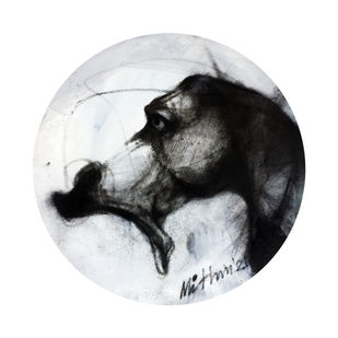 Expression III by Mithun Dutta, Expressionism Drawing, Charcoal on Canvas, Iron color