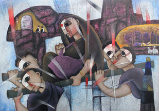 THE JOURNEY-21A by NAGESWARA RAO, Conceptual, Cubism, Expressionism Painting, Oil on Canvas, Emperor color