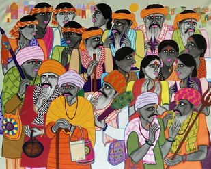 Towards his Place (People of God series) Digital Print by Dhan Prasad,Decorative, Folk, Traditional