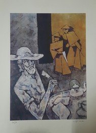 Paris suite by M F Husain, Expressionism Serigraph, Serigraph on Paper, Bud color