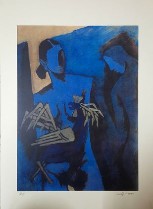 Paris suite by M F Husain, Expressionism Serigraph, Serigraph on Paper, Oxford Blue color