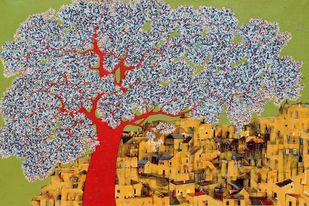 tree of life by Bhaskara Rao Botcha, Art Deco Painting, Acrylic & Ink on Canvas, Sycamore color