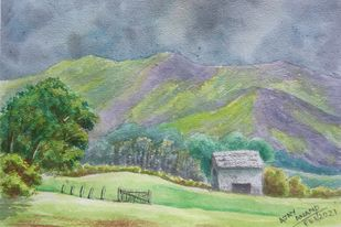 Purple Hills by Ajay Anand, Illustration Painting, Watercolor on Paper, Mantle color