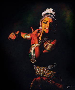 Bharatanatyam by Muralidhar Suvarna, Illustration, Realism Painting, Canvas on Board, Woodsmoke color