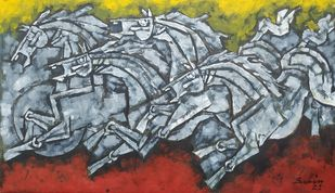 Race 4 by Balbir Singh, Cubism Painting, Acrylic on Canvas, Dorado color