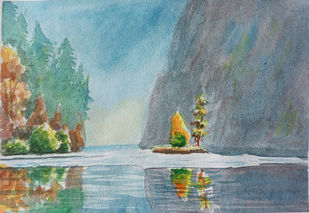 Autumn Colors 2 by Ajay Anand, Illustration Painting, Watercolor on Paper, Sirocco color