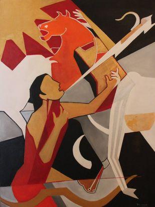 Radheya by Pratap SJB Rana, Conceptual, Cubism Painting, Acrylic on Canvas, Brown Sugar color