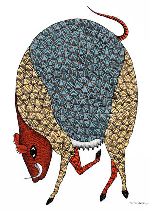 Gond Painting by Unknown Artist, Folk, Tribal Painting, Acrylic on Paper, Just Right color