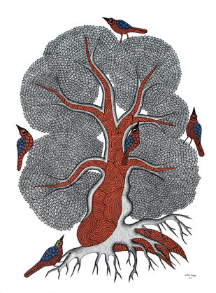 Gond Painting by Unknown Artist, Folk Painting, Acrylic on Canvas,