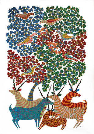 Gond Painting by Unknown Artist, Folk, Tribal Painting, Acrylic on Canvas,
