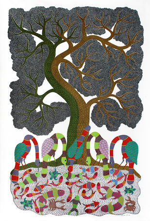 Gond Painting by Rajendra Kumar Shyam , Folk, Tribal Painting, Acrylic on Canvas,