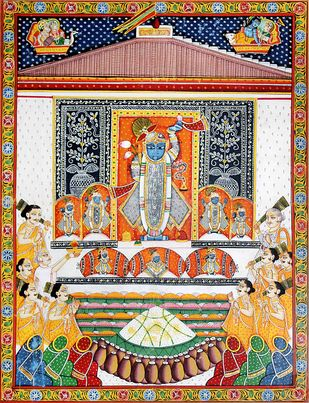 Pichwai Painting by Unknown Artist, Folk Painting, Natural stone colour on cotton, Outer Space color