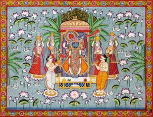 Pichwai Painting by Unknown Artist, Folk Painting, Natural stone colour on cotton, Pewter color