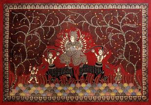 Mata-ni-pachedi by Unknown Artist, Folk Painting, Vegetable Dye on Cotton, Metallic Copper color