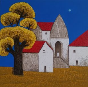 Villagescape by Nagesh Ghodke, Abstract Painting, Acrylic on Canvas, St Tropaz color