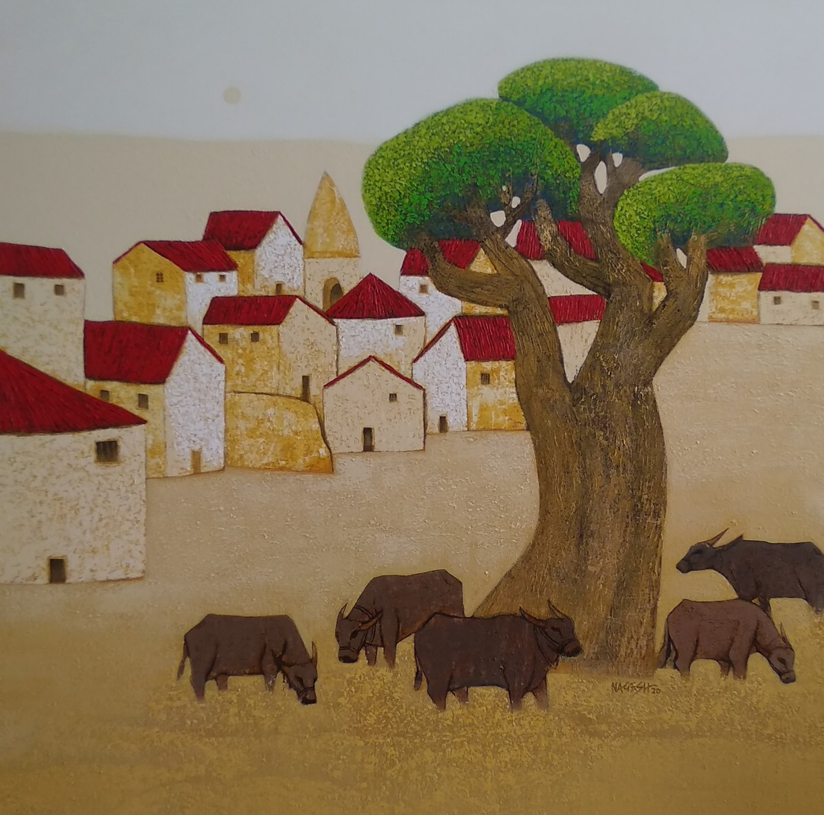 Villagescape by Nagesh Ghodke, Abstract Painting, Acrylic on Canvas, Yellow Metal color