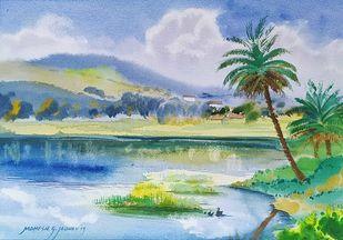 Quiet lake shore ar Rajaputwadi by Mahesh Jadhav, Illustration Painting, Watercolor on Paper, Loblolly color