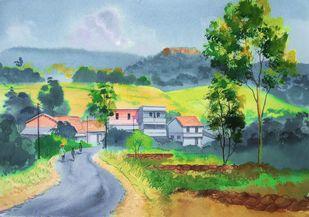Ghat Village, Masai Plateau, Kolhapur by Mahesh Jadhav, Illustration Painting, Watercolor on Paper, Nepal color