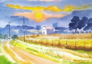 Sunrise in the golden grass at Ujalaiadi by Mahesh Jadhav, Illustration Painting, Watercolor on Paper, Pumice color