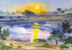 Sunrise near the lake in winter at Rajaram lake by Mahesh Jadhav, Illustration Painting, Watercolor on Paper, Oslo Gray color