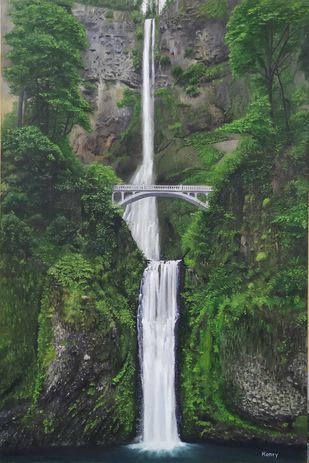 Waterfall by Henry Charles, Illustration, Realism Painting, Oil on Canvas Board, Lunar Green color