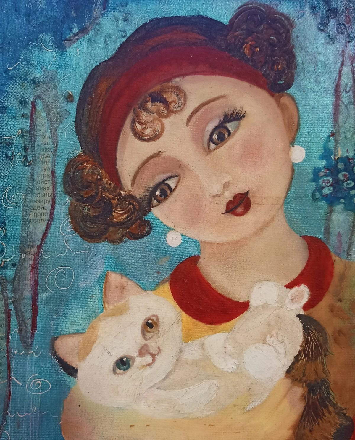 My kitten. Digital Print by Swati Chavan,Illustration