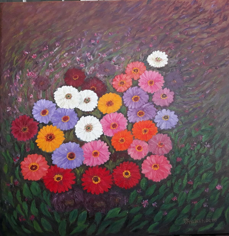 2020 (I I) by VINOD PRAKASH , Conceptual Painting, Oil on Canvas, Ferra color