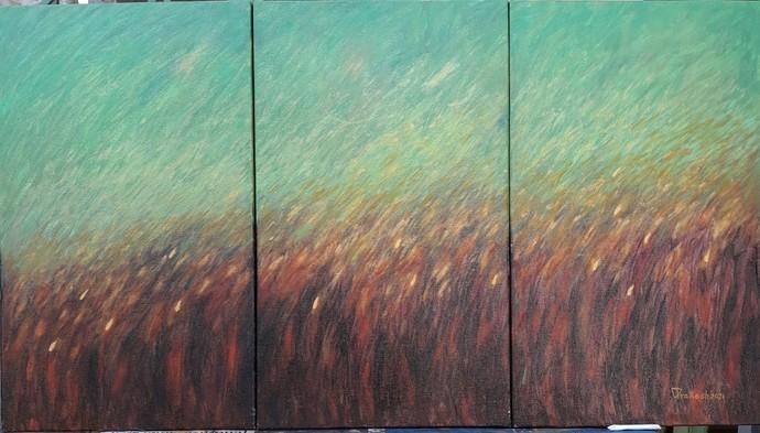 GREEN GOLD by VINOD PRAKASH , Impressionism Painting, Oil on Canvas, Bay Leaf color