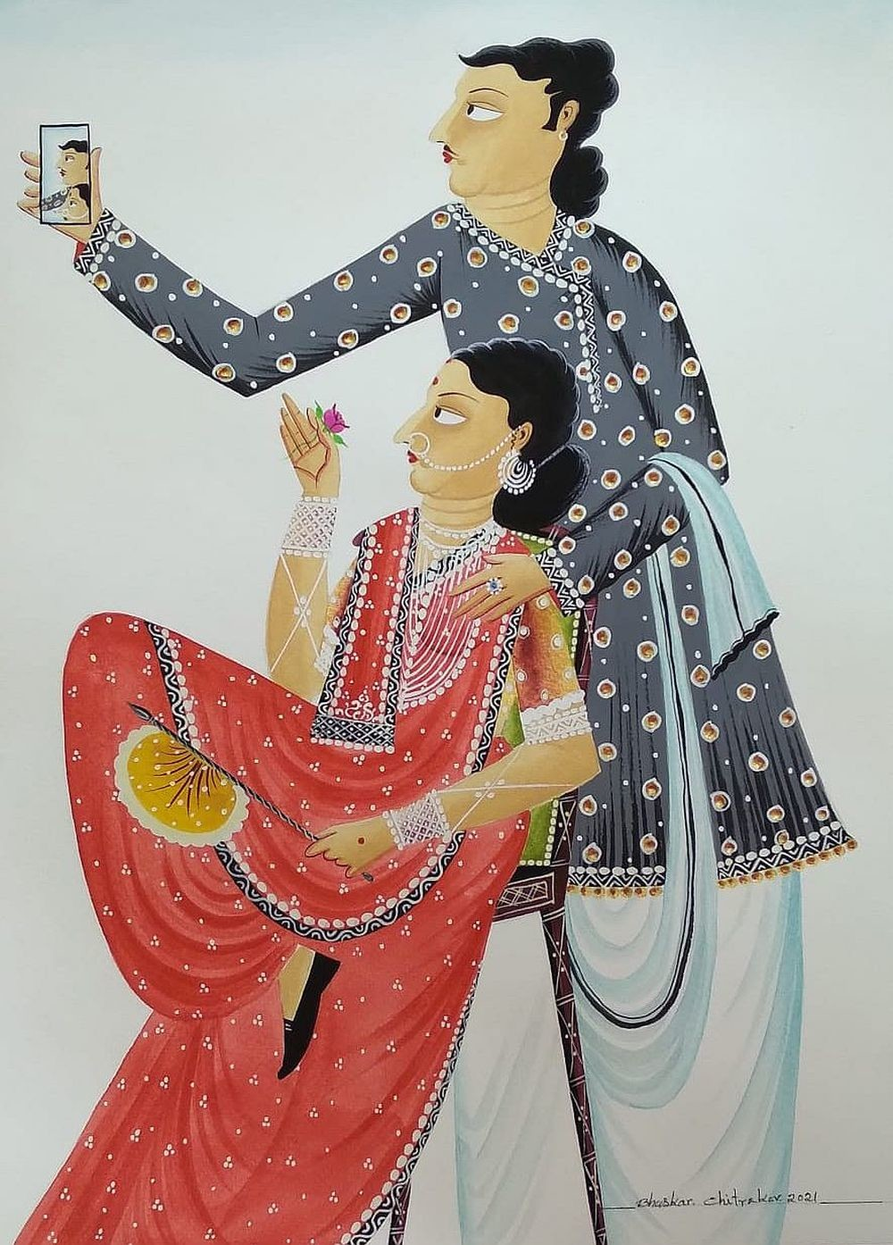 Babu-Bibi taking a 'selfie' by Bhaskar Chitrakar, Conceptual, Illustration Painting, Natural colours on paper, Kangaroo color