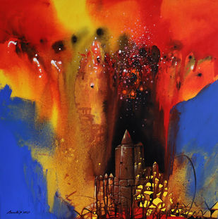 Untitled-10 by Pradip Sengupta, Abstract Painting, Acrylic on Canvas, Rhino color