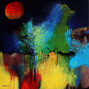 Magical moment by Pradip Sengupta, Abstract Painting, Acrylic on Canvas, Outer Space color