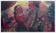 WEDDING by SUDIP CHANDRA, Illustration Painting, Mixed Media on Canvas, Gray color