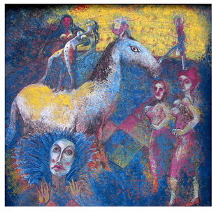 circus by SUDIP CHANDRA, Illustration Painting, Mixed Media on Canvas, Gray color