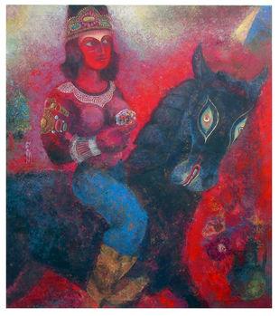 Chitrangada by SUDIP CHANDRA, Illustration Painting, Mixed Media on Canvas, Gray color