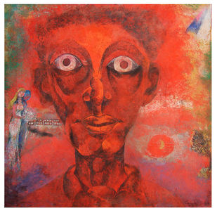 First Man by SUDIP CHANDRA, Illustration Painting, Mixed Media on Canvas, Maroon color