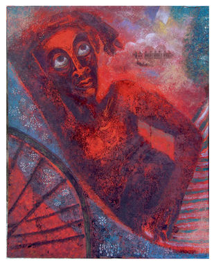 Ricksaw wola by SUDIP CHANDRA, Illustration Painting, Mixed Media on Canvas, Gray color