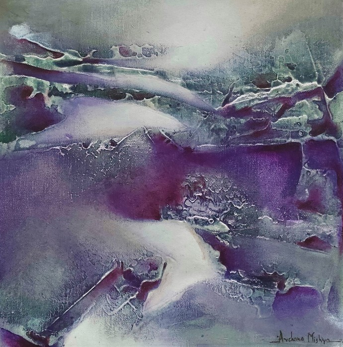 Untitled by Archana Mishra , Abstract Painting, Acrylic on Canvas, Storm Gray color