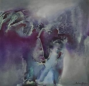 Untitled by Archana Mishra , Abstract Painting, Acrylic on Canvas, Mid Gray color
