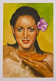 woman with piece of papaya by Shashiranjan Prakash, Illustration Painting, Watercolor on Paper, Marigold color