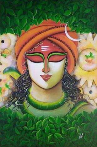 SOMESHWARA 3 by SUSMITA MANDAL, Decorative Painting, Acrylic on Canvas, Everglade color