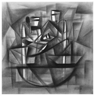 Journy with Family by Jitesh patil, Abstract Drawing, Charcoal on Paper, Dove Gray color