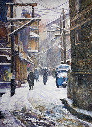 Shehr i Khaas by Masood Hussain, Illustration, Realism Painting, Watercolor on Paper,